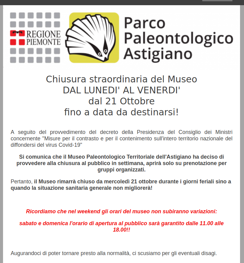 Chiusura  del Museo DAL LUNEDI' AL VENERDI'
